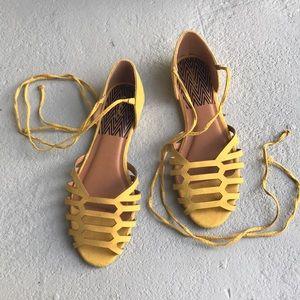 Qupid Yellow Wrap Sandals